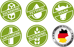 Vegan, laktosefrei, glutenfrei, zuckerfrei, fettfrei, made in Germany