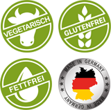 Vegetarisch, glutenfrei, fettfrei, made in Germany